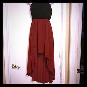 Burgundy &  black sheer dress.